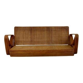 Rare Vintage Woven Rattan Sofa 133d