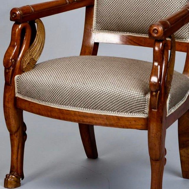 19th Century French Empire Mahogany & Parcel Gilt Chairs - A Pair - Image 5 of 9