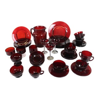 Anchor Hocking Gothic Royal Ruby Glass Serving Set - 41 Pieces For Sale