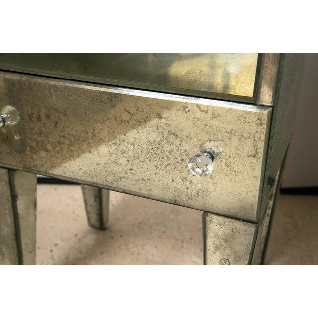 Petite Antiqued Mirrored Nightstands - A Pair - Image 5 of 7