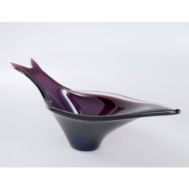 Handblown Murano glass fish-shaped bowl in shades of purple and blue.