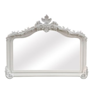 Blenheim French Traditional White Solid Wood Mantle Mirror For Sale