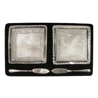 Antique English Crystal & Sterling Silver Pate Service, C.1860 For Sale