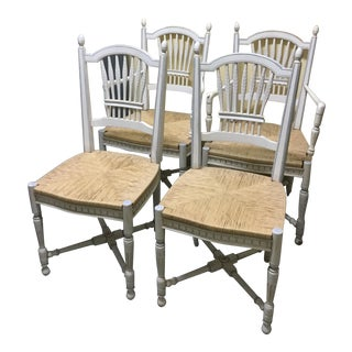 Late 20th Century Rush-Seat French Painted Chairs- Set of 4 For Sale