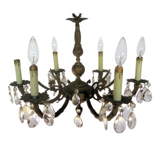 1930s Art Deco 6 Light Chandelier For Sale