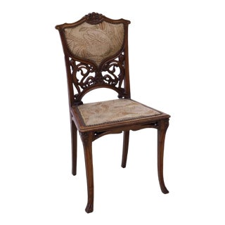 Vintage French Art Nouveau Carved Oak Chair For Sale