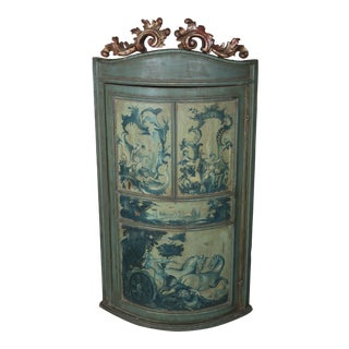 1930's Italian Painted Corner Cabinet For Sale