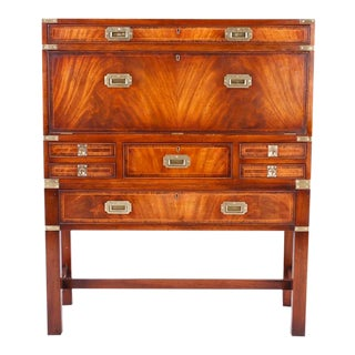 English Campaign Secretary Chest on Stand For Sale