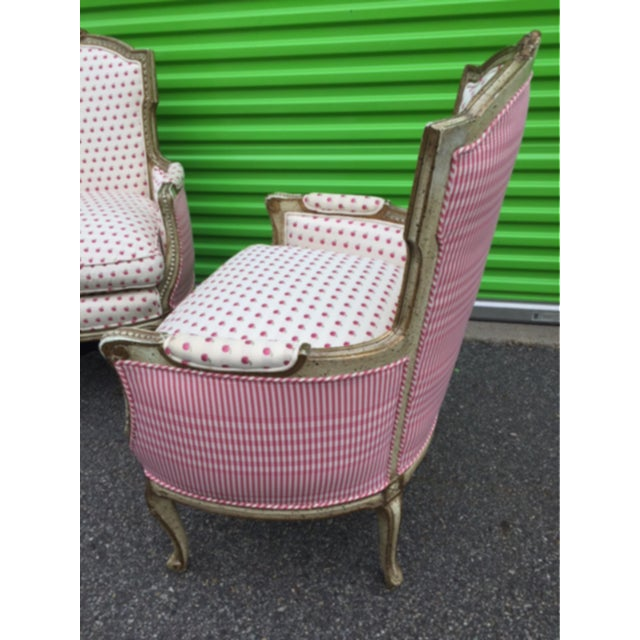 White Vintage Mid Century French Style Bergere Chairs- a Pair For Sale - Image 8 of 12