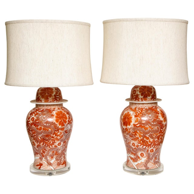 Orange and White Ceramic Lamps - A Pair For Sale - Image 13 of 13