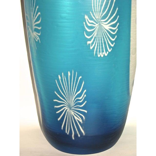 Davide Dona Davide Dona Aqua Blue and White Textured Murano Glass Grand Vase For Sale - Image 4 of 11