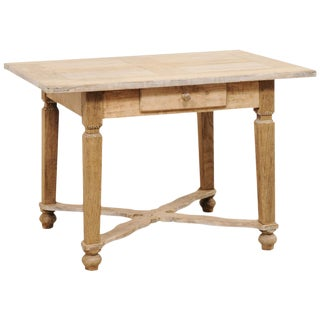 French Early 20th Century Bleached Wood Desk With X-Stretcher and Single Drawer For Sale