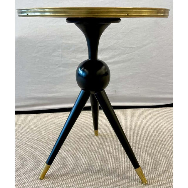 Mid-Century Modern Mid-Century Modern Style End / Lamp Table Ebony Bronze Base and Rosewood For Sale - Image 3 of 13
