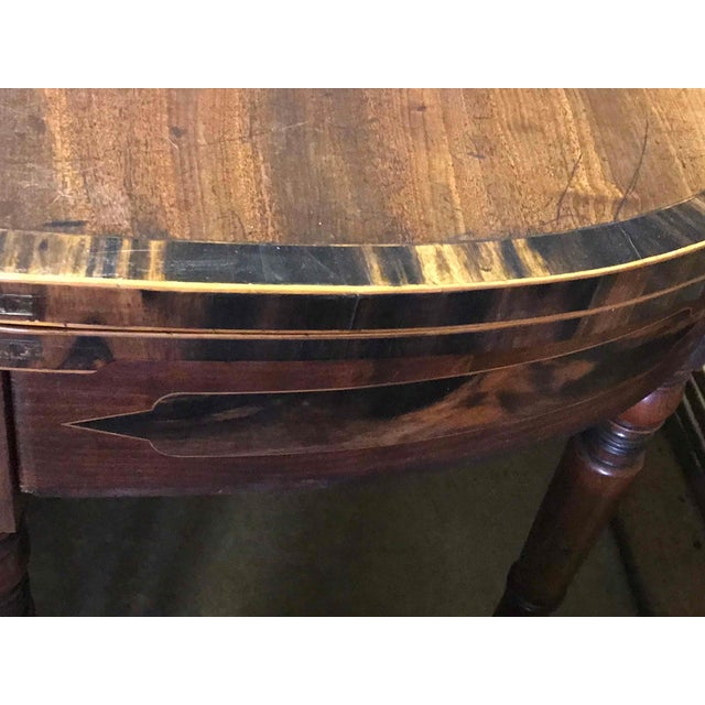 1830s English Demilune Mahogany Game Table or Console For Sale - Image 12 of 13