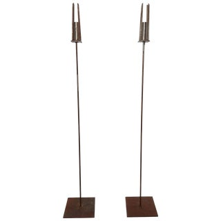 20th Century Pair of Tall / Floor Iron Candlesticks For Sale