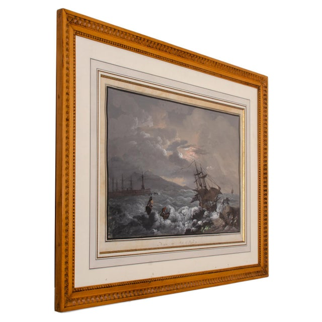 """Camillo De Vito """"View From Naples Pier"""" Gouache Painting C.1820s For Sale - Image 4 of 11"""