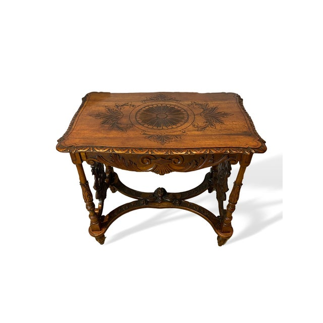 1880s Italian Hand Carved Walnut Center Table For Sale - Image 9 of 9
