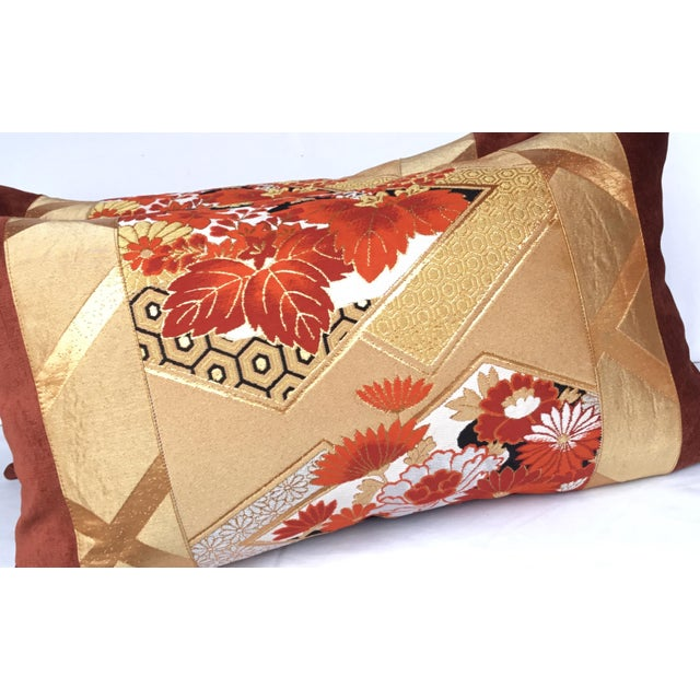 Vintage Japanese Gold & Rust Obi Pillows - A Pair - Image 4 of 7