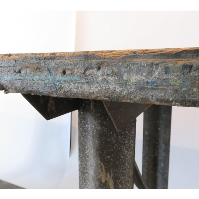 Metal Industrial Plank Top Work Table For Sale - Image 7 of 7