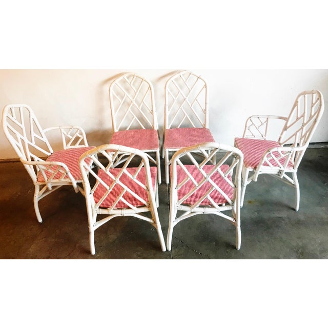 """Eight Vintage Bamboo Rattan Dining Room Chairs. Armchairs: 38""""H x 22 x 21 Chairs: 38""""H x 17 x 18"""