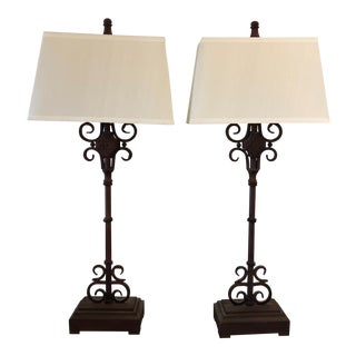 Iron Table Lamps & Silk Shades - a Pair For Sale