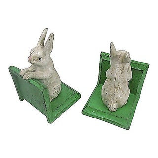 Pair Rustic White Rabbit Cast Iron Bookends Preview