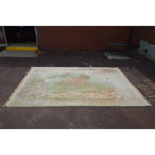 "*STORE ITEM #: 18007-fwmr Karastan Soft Green Kirman 8'7"" x 12'9"" Room Size Rug AGE / ORIGIN: Approx. 25 years, America..."