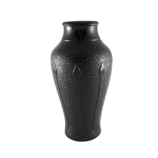 1930s Macbeth Evans Art Deco Black Amethyst Glass Vase For Sale