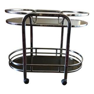 1980s Milo Baughman-Style Chrome and Glass Bar Cart For Sale