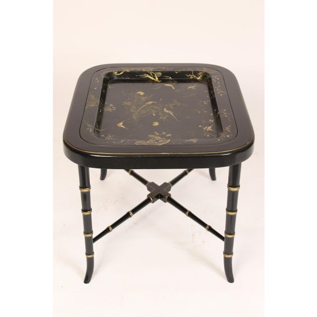 English English Regency Style Paper Mache Tray Table For Sale - Image 3 of 11