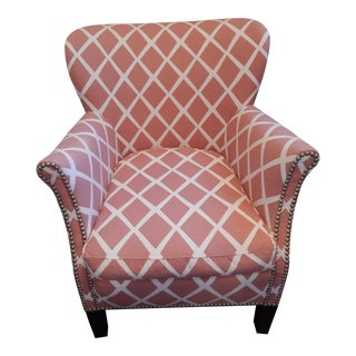 Transitional Serena & Lily Belgian Club Chair With Nailhead Detail For Sale
