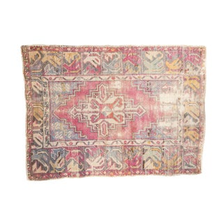 "Vintage Distressed Oushak Rug - 2'9"" X 3'8"" For Sale"