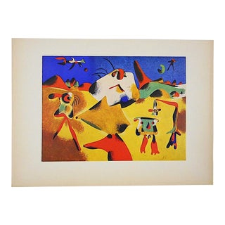 Vintage Mid 20th Century Modernist Lithograph-Joan Miro-Folio Size For Sale