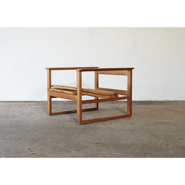 Børge Mogensen 2256 Oak and Cane Sled Lounge Chair, Fredericia, Denmark, 1950s For Sale - Image 6 of 13