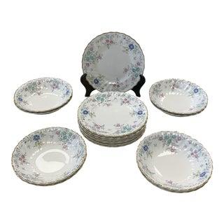 1950s Vintage Royal Doulton Pastoral Porcelain Plates & Bowls Dessert Set - Set for 8 For Sale