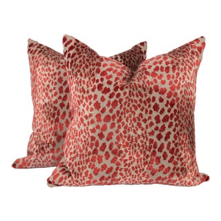 Garnet Red Velvet Cheetah Pillows, a Pair For Sale