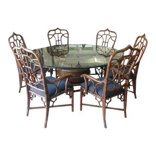 1980s McGuire Style Rattan Cathedral Dining Set For Sale
