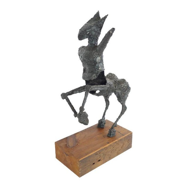 Steel Centaur Sculpture on Wood Base For Sale In Seattle - Image 6 of 10