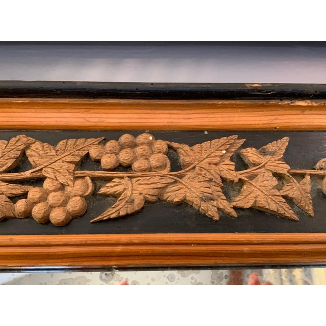 Wood Carved Wood Art Nouveau Mirror With Fleur-DI-Lis For Sale - Image 7 of 13