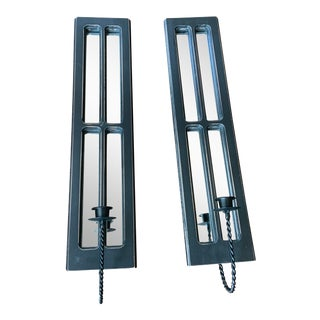 Rectangular Mirrored Black Wooden Candle Sconces - a Pair For Sale