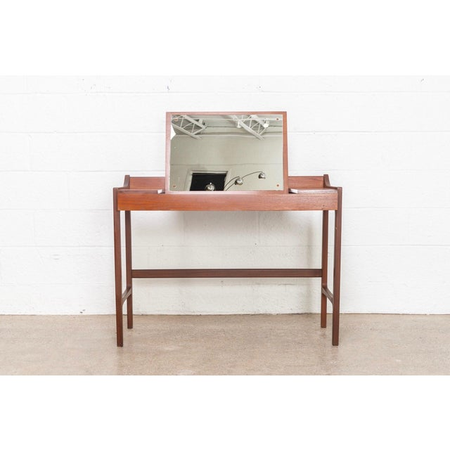 1960s Danish Modern Teak Vanity Table For Sale - Image 5 of 12