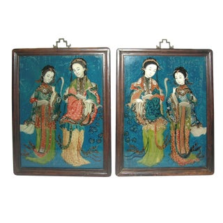 19th Century Chinese Near Mirror-Pair Reverse Glass Paintings of Beauties - a Pair For Sale