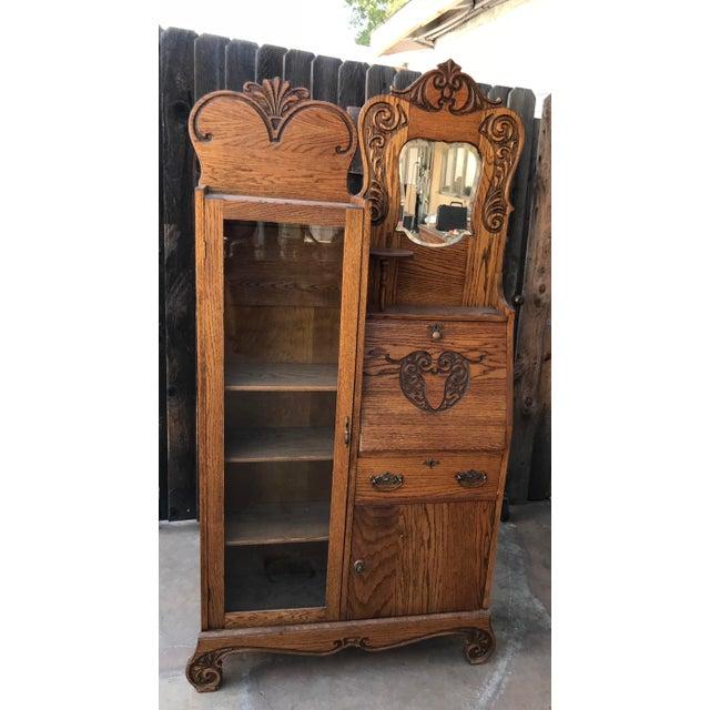 Oak Antique Secretary Writing Desk Cabinet For Sale - Image 7 of 7