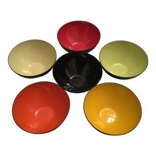 1960s Krenit Denmark Enamelware Bowls by Herbert Krenchel - Set of 6 For Sale