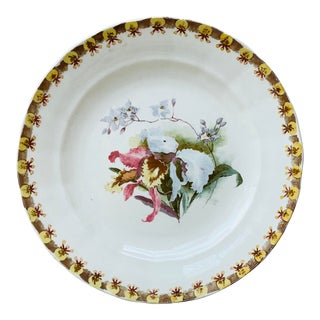 French Plate With Orchid Hippolyte Boulenger Choisy Le Roi Circa 1890 For Sale