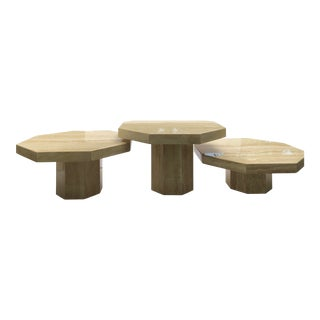 1970s Vintage Italian Octagonal Travertine Coffee Tables - Set of 3 For Sale