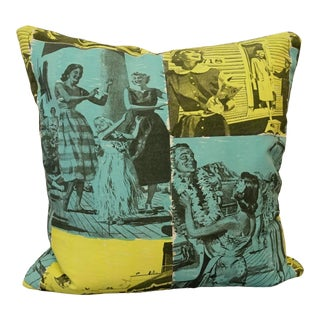 1950s Vintage Fabric Accent Pillow For Sale