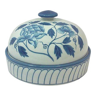 Blue and White Peony Domed Porcelain Decorative Dish For Sale