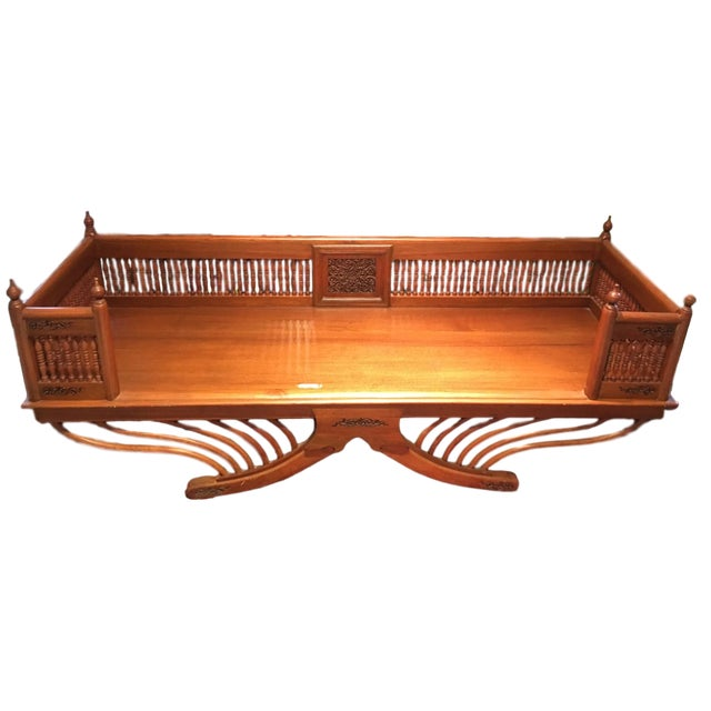 20th Century Asian Thai Howdah Hand Carved Teak Daybed For Sale - Image 10 of 10