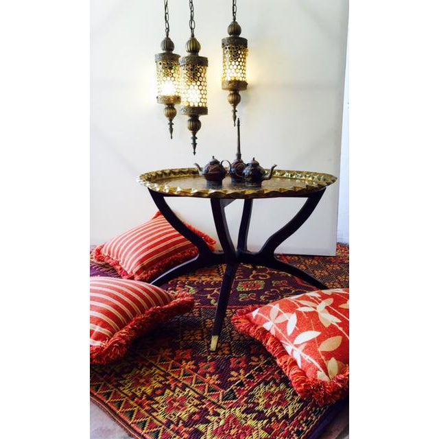 Early 21st Century Moroccan Bohemian Orange Pillows & Placemats - Set of 9 For Sale - Image 5 of 11